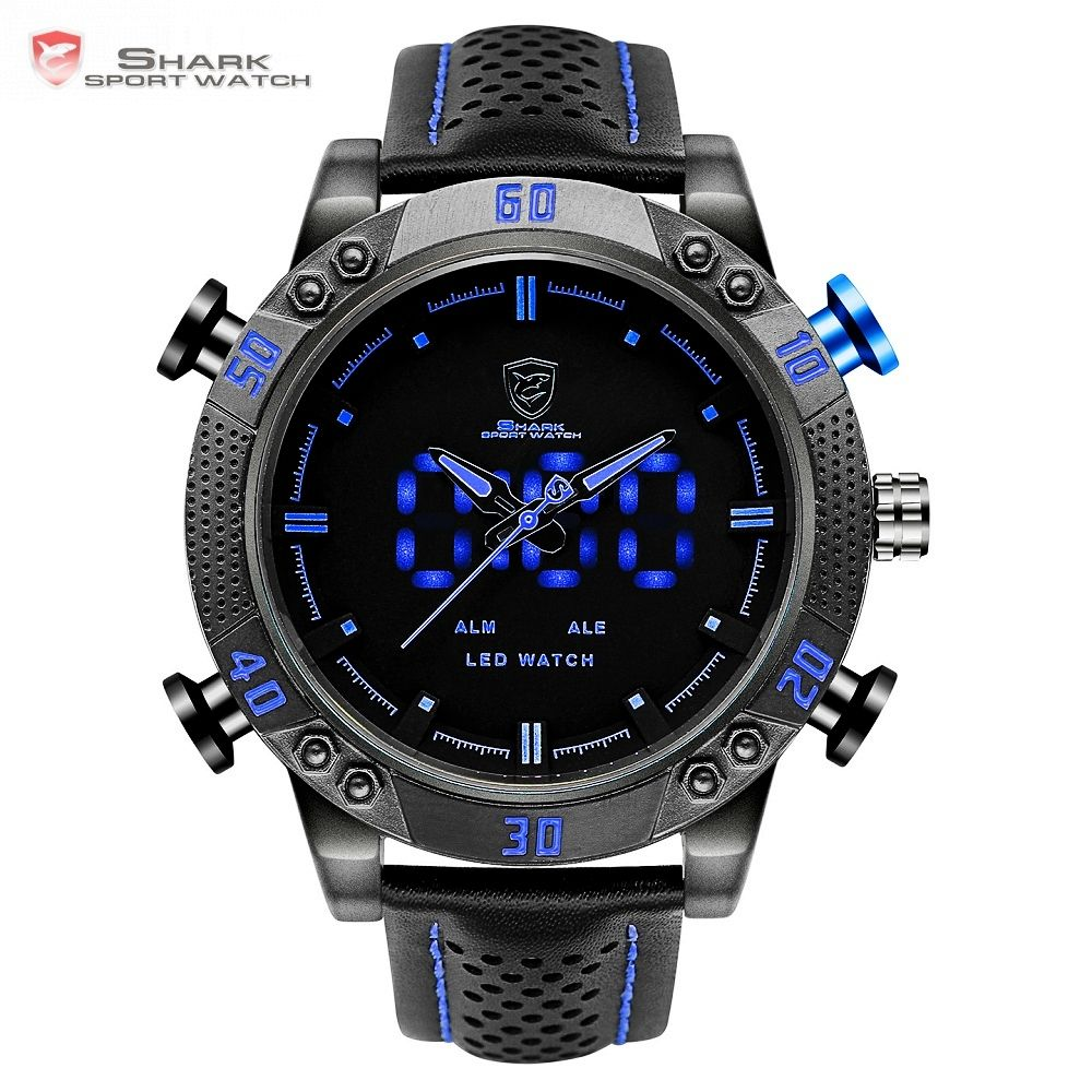 Kitefin Shark Sport Watch Brand <font><b>Blue</b></font> Outdoor Hiking Digital LED Electronic Watches Calendar Alarm Leather Band Men Clock /SH265