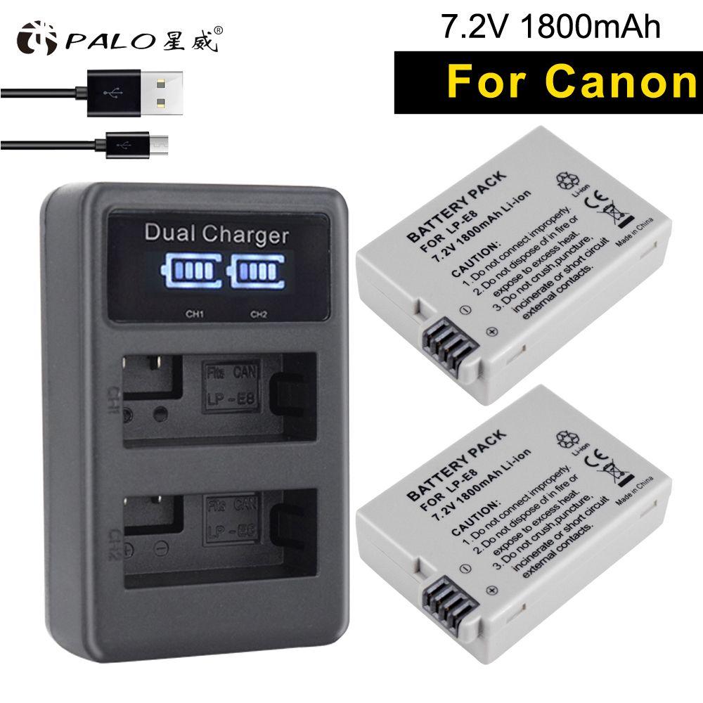 PALO 2pcs LP-E8 camera battery + lp e8 charger LCD smart chip USB digital charger For canon EOS 550D 600D 650D 700D X4 X5 X6i T2