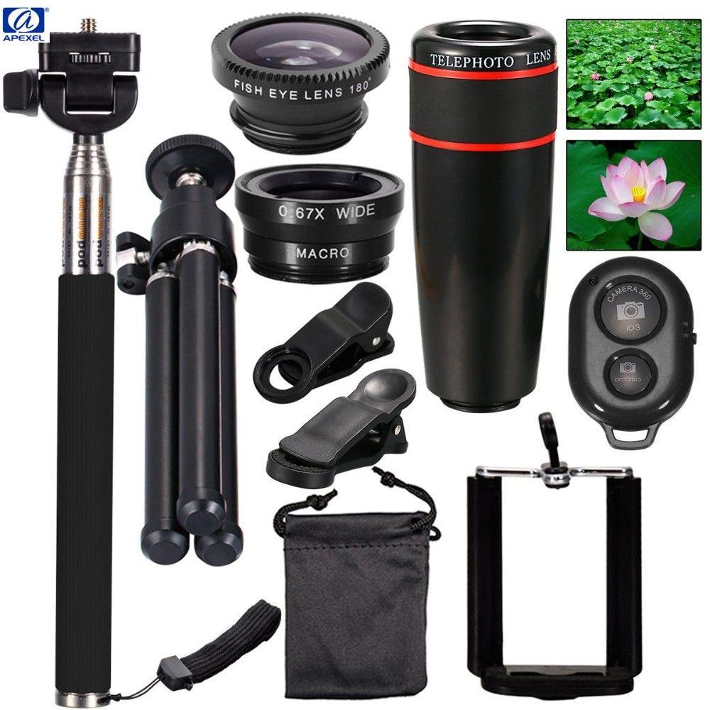 Tout en 1 Accessoires Téléphone Caméra Objectif Top Voyage Kit Pour iPhone 5S 6 Plus et galaxy HTC XIAOMI HUAWEI téléphones portables APL-12X10in1