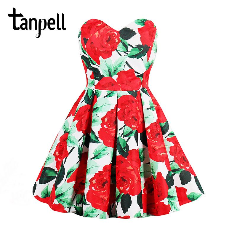 Tanpell pleated vintage cocktail dress red rose print a line knee length dress cheap 2017 ladies party new short cocktail dress