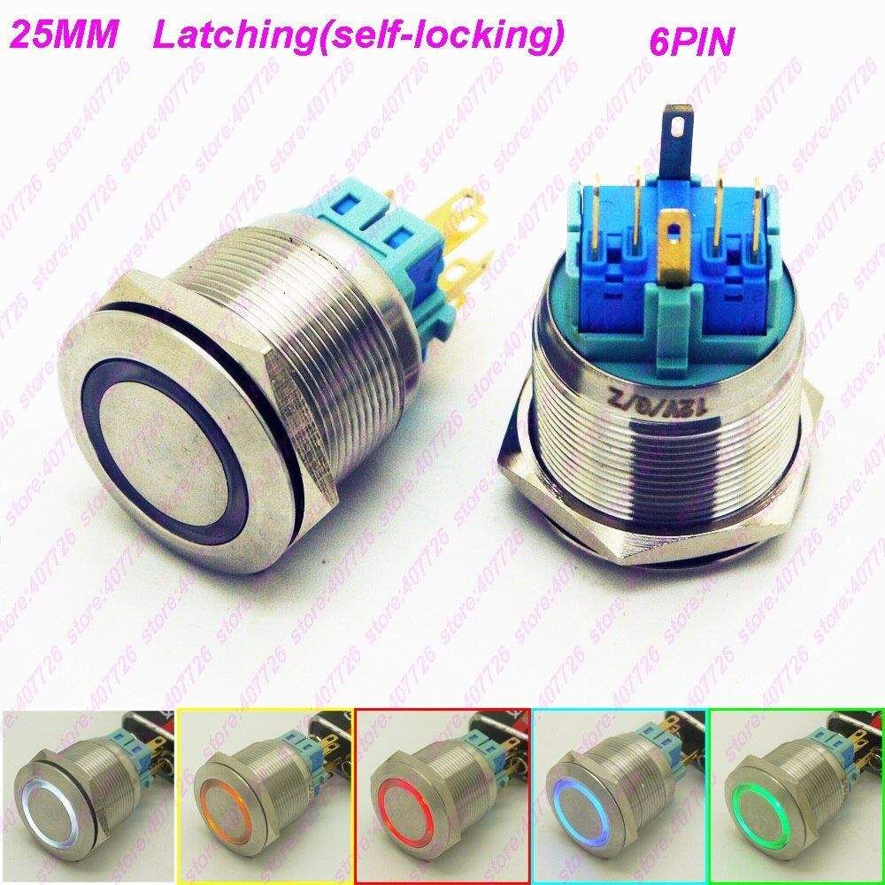 50PCS 25MM Metal Switch Glowing Ring Push Button 6Pin With LED 12V/24V Not Released Self-Locking Indication FlatHead