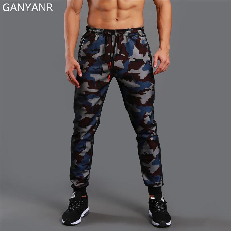 GANYANR Running Pants Men Sport Leggings Training Jogging Gym Athletic Football Sweatpants Fitness Elastic Sportswear Camouflage