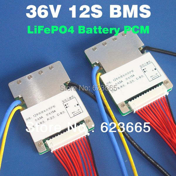 12S 36V 15A lifepo4 battery BMS USed for electric bike 36V 8Ah 10Ah 12Ah 15Ah LiFePO4 battery pack With balance function