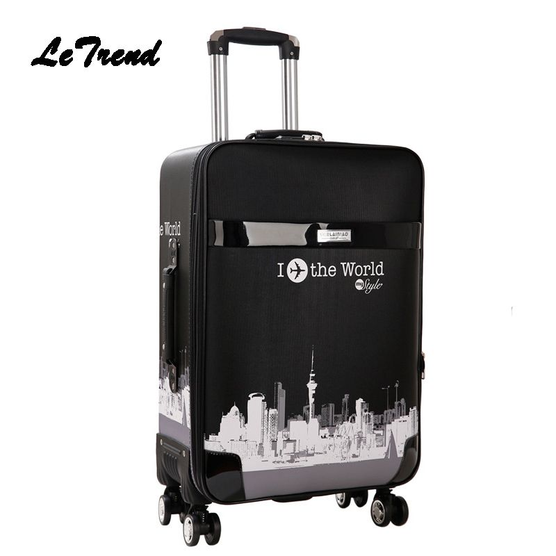 LeTrend Rolling Luggage Spinner Women Password Cabin Trolley Men Travel Duffle Business Suitcase Wheels Student School Bag