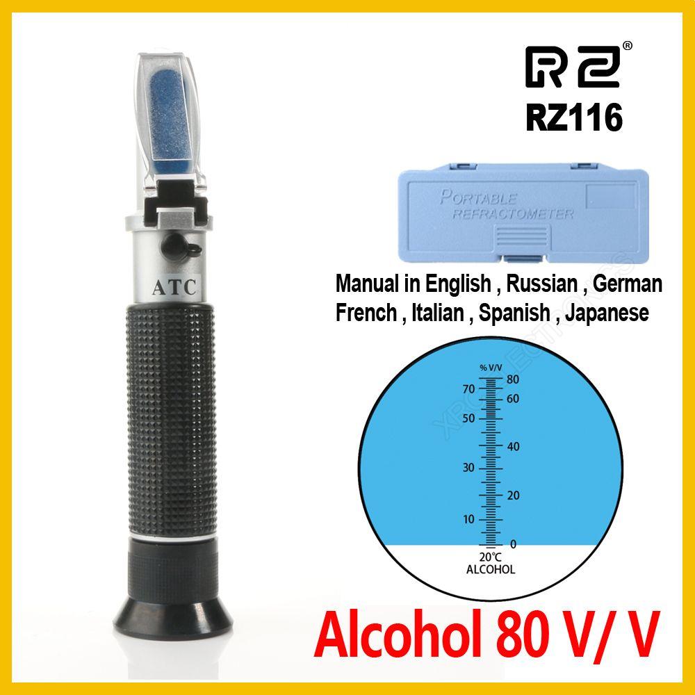 RZ réfractomètre alcool alcoomètre mètre 0 ~ 80% V/V ATC outil de poche hydromètre RZ116 concentration spiritueux testeur vin