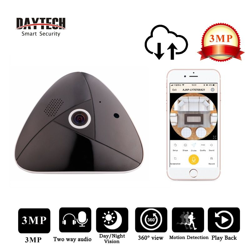 DAYTECH 3MP Panoramic Camera Wireless IP Camera WiFi Surveillance 360 Degree Fisheye CCTV Monitor Two Way Audio IR Night Vision