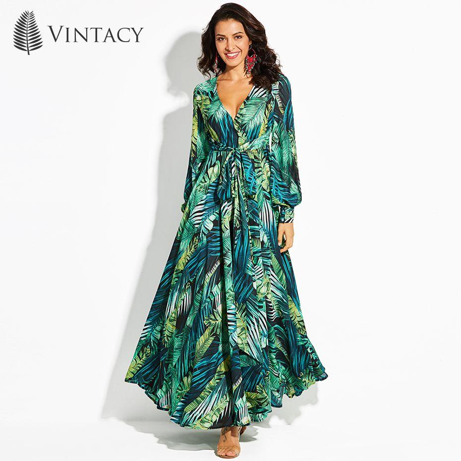 Vintacy Women's Maxi Dress Floral V-Neck <font><b>Plant</b></font> Print Lace-Up Ankle-Length Pullover 2017 Modern Fashion Girls Women's Maxi Dress
