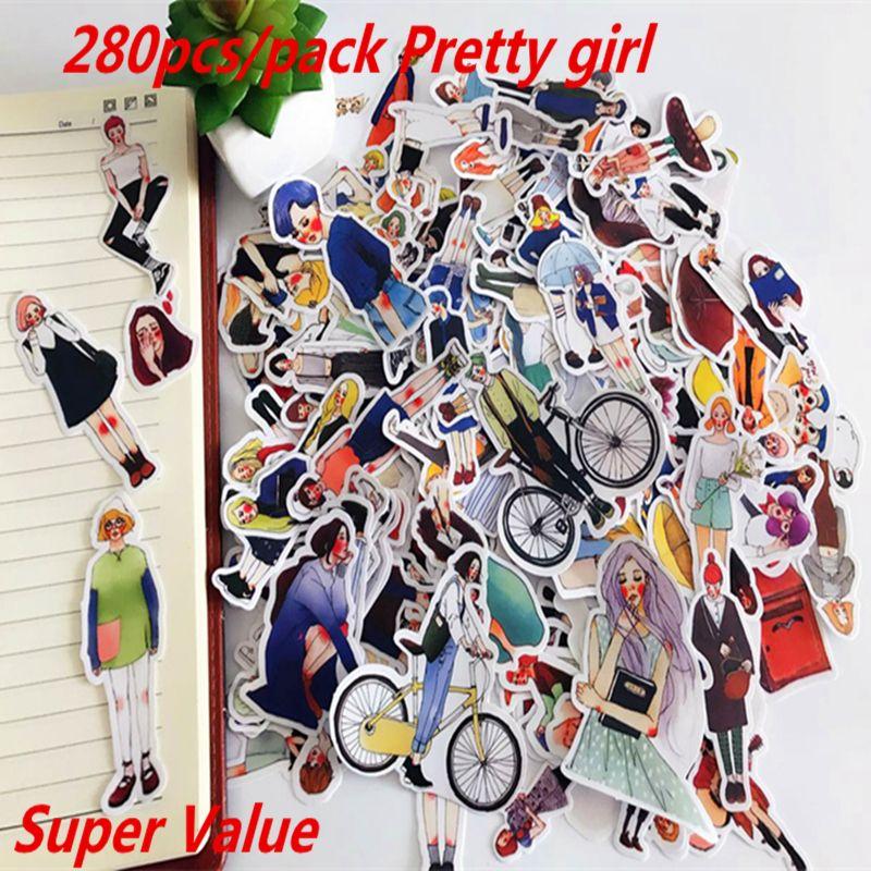 280 unids Lindo kawaii hecho a sí mismo Pretty girls scrapbooking Pegatinas/Etiqueta Engomada Decorativa/notebook diario welt Arte de DIY Álbumes de fotos