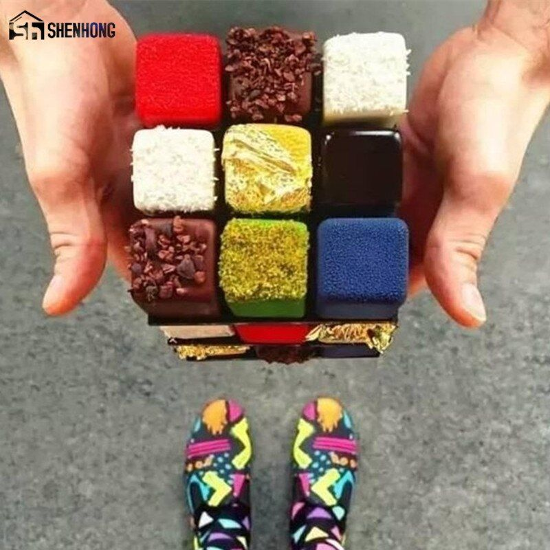 SHENHONG Amazing Rubik's Cube Dessert Art Cake Mold 3D Stainless Steel Mousse Moulds Ice Cream Chocolate Bakeware Pastry Pan