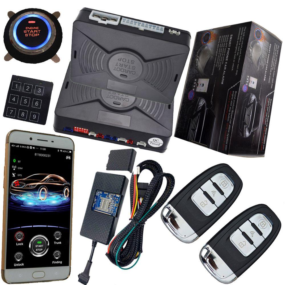Mobile app smart pke auto auto alarm system mit gps online echtzeit-tracking auto zentralen schloss ohne drücken alarm fernbedienung