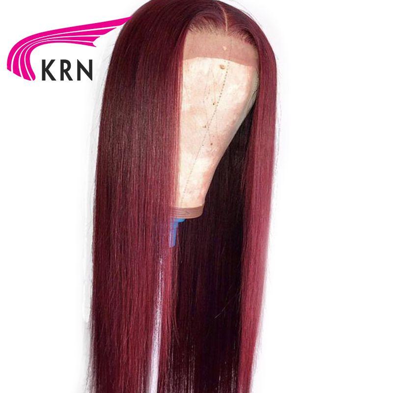 KRN 99J Ombre pré plumé dentelle avant perruques de cheveux humains avec des cheveux de bébé droite Remy cheveux brésiliens avant de lacet perruques 130 densité