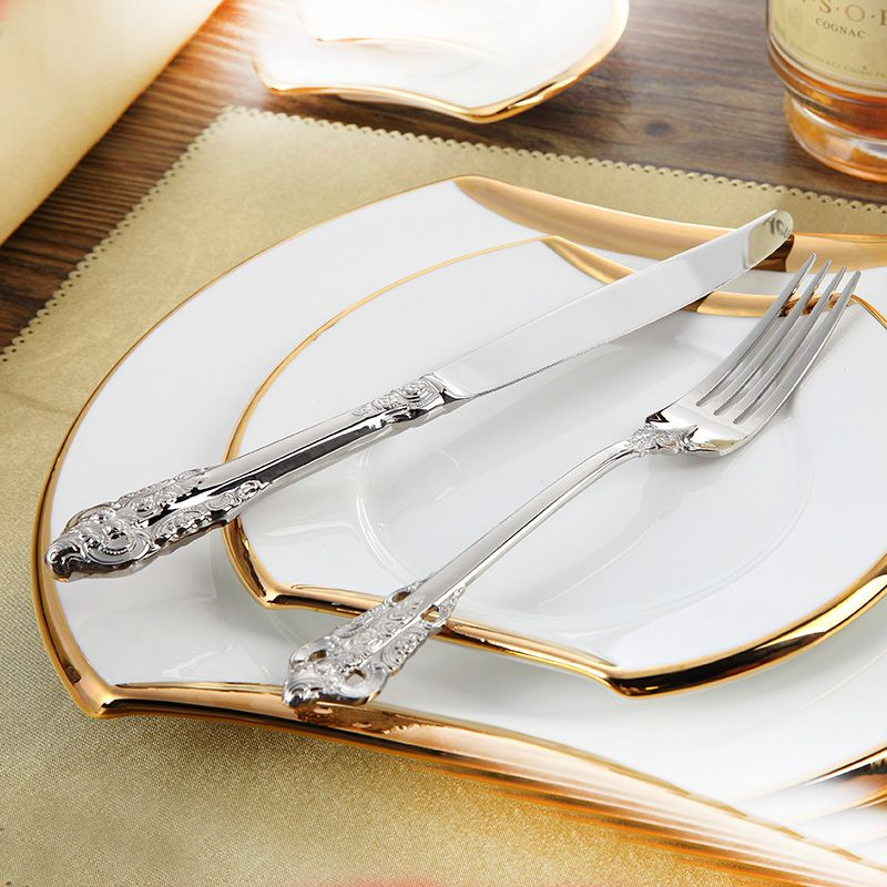 Confortable Zone Couverts En Acier Inoxydable De Luxe Ensemble de Dîner 24 pièces Restaurant Vintage À Manger Belle Vaisselle Set Couteaux Fourchettes