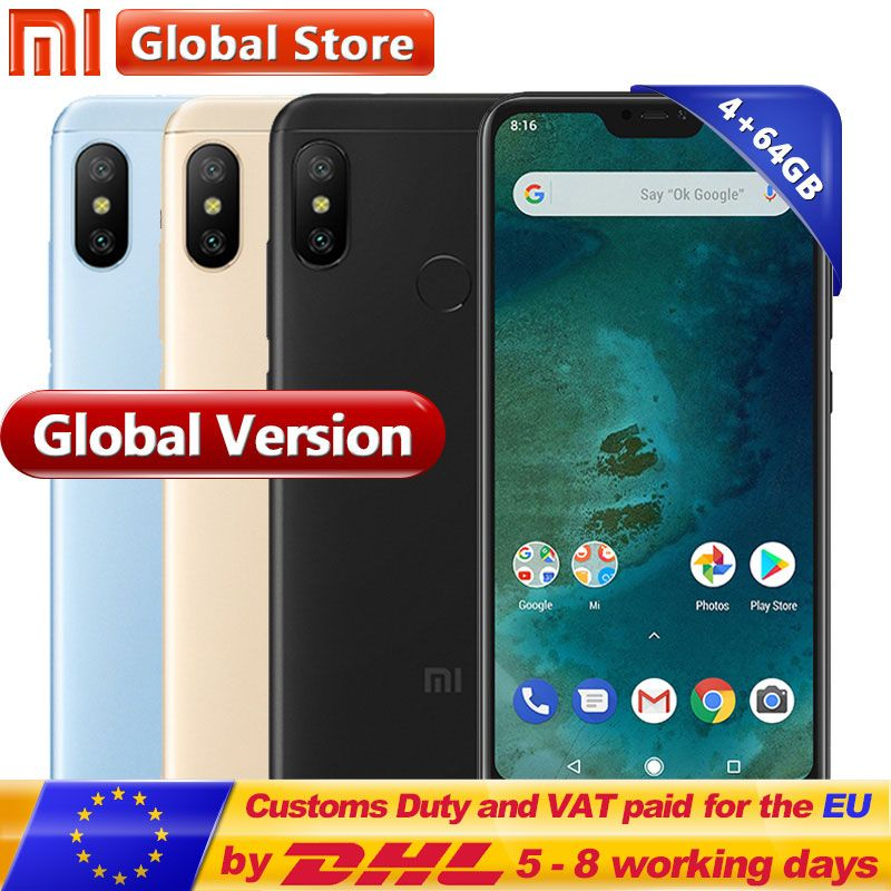 Global Version Xiaomi Mi A2 Lite 4GB RAM 64GB ROM SmartPhone Snapdragon 625 Octa Core Dual Camera 5.84