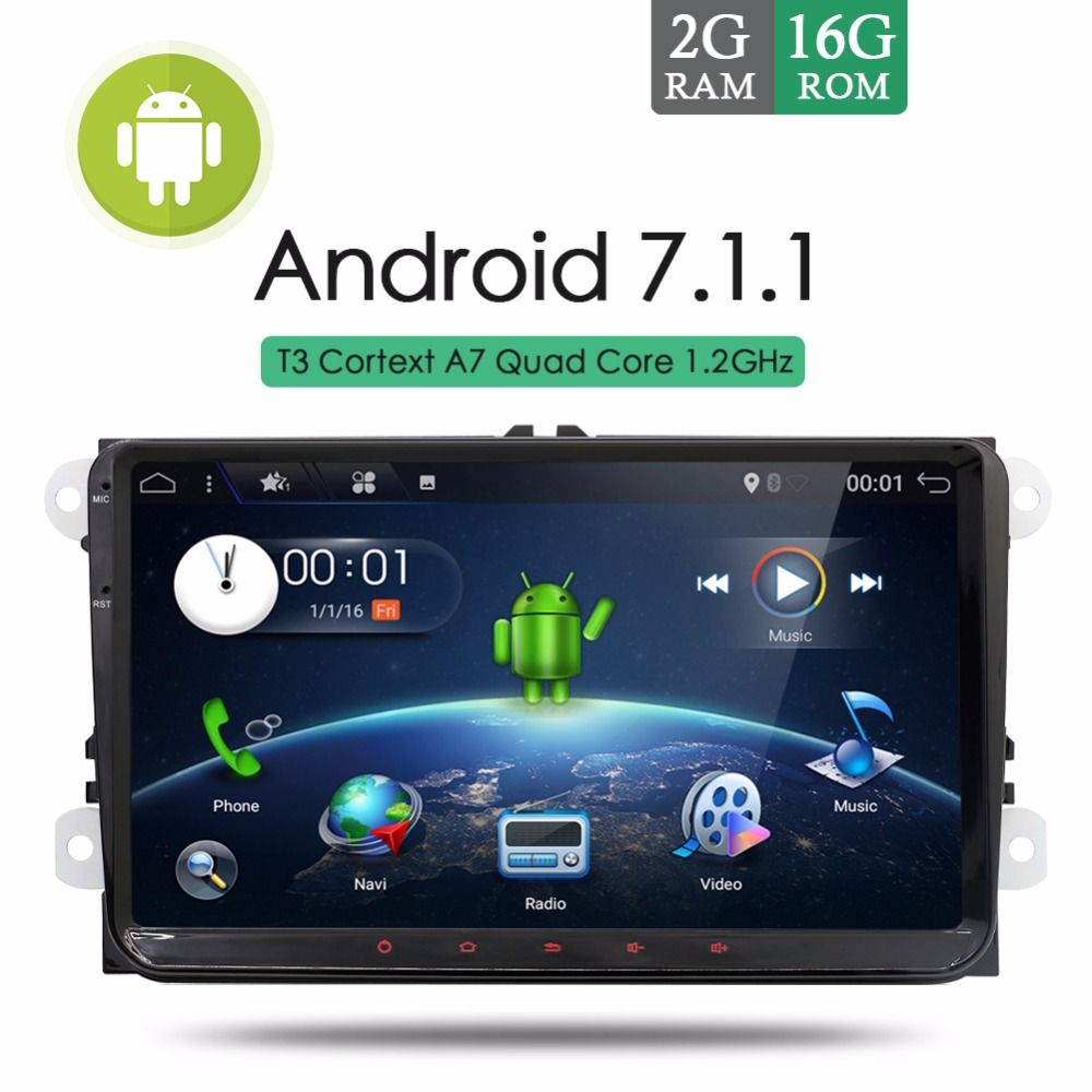 2GB RAM Android 7.1.1 Car Stereo Radio For VW Passat Golf Tiguan Touran GPS Navi SWC AUX Bluetooth Wifi OBD2 ISO FM/AM +CANBUS