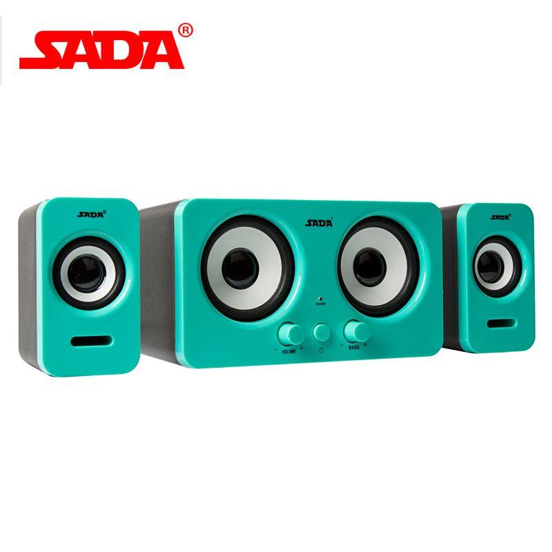 Original SADA Stereo Bass Surround Loudspeaker Wired Subwoofer For Laptop Desktop Computer Portable USB Speaker Volume Control
