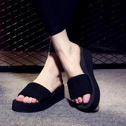 Летняя женская обувь; Тапочки для ванной на платформе; пляжные вьетнамки на танкетке; женские шлепанцы на высоком каблуке; Брендовая женска...