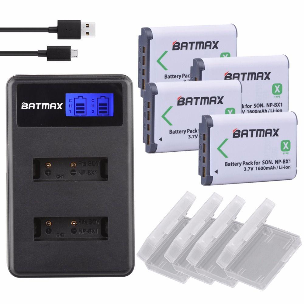 1600 mAh 4 pièces NP BX1 NP-BX1 Batteries Accu + LCD Double Chargeur USB pour Sony DSC-RX100 DSC-WX500 IV HX300 WX300 HDR-AS15 HDR-AS300
