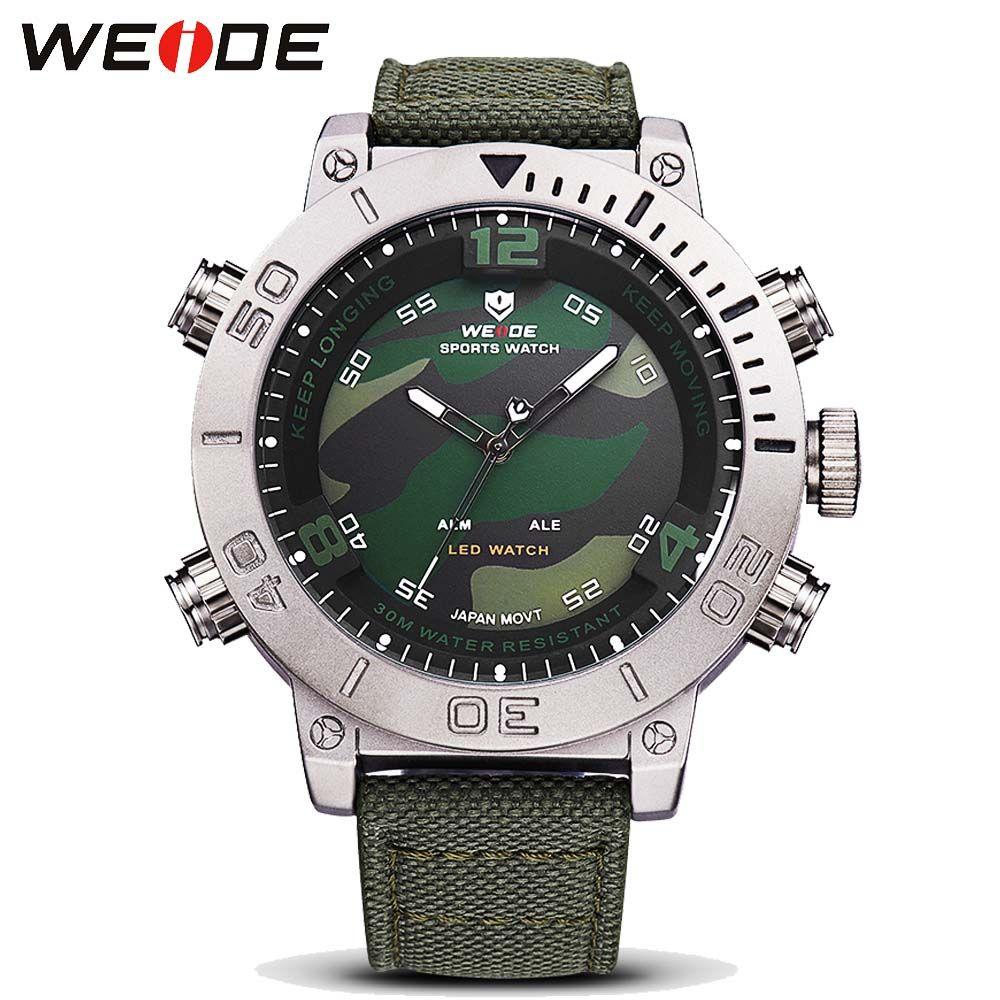 2017 WEIDE Brand Men's Casual Sport Watches Men LED Digital Watch Canvas Military Quartz Watch Clock Man Relogio Masculino