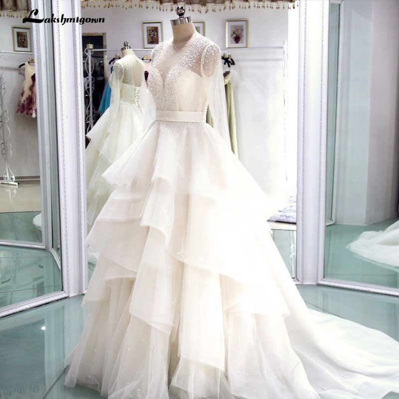 Long Sleeve Real Photo Cheap Wedding Dresses 2018 Tiered Beaded Luxury Bridal Gowns Robe De Mariage