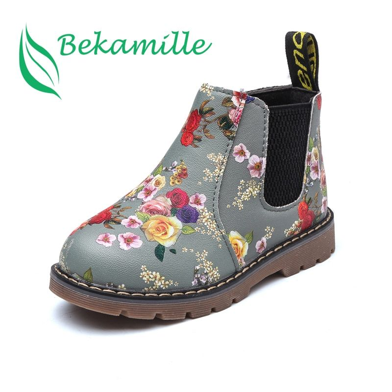 Новые Детские печати ботинки «мартенс» осень-зима для девочек на плоской подошве теплые сапоги из искусственной кожи зимняя женская обувь ...