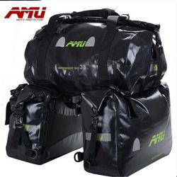 AMU Motorcycle Saddle bags Waterproof Moto Tank Bag Motor Bike Helmet Bags Oil Travel Luggage Case Motorbike Saddlebags