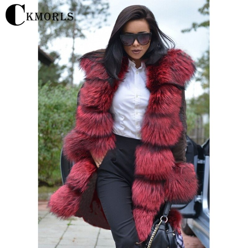 CKMORLS 2018 New Arrival Real Fur Coat Women Parka Clothes Winter Long Jacket Red Fur Collar Tops Lady Natural Fox Fur Parkas