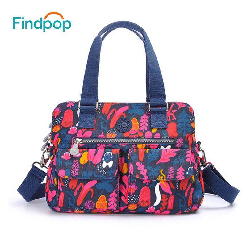 Findpop Blumendruck Handtaschen Frauen Große Kapazität Lässig Crossbody Taschen Für Frauen 2018 Neue Wasserdichte Nylon Top-Griff Taschen