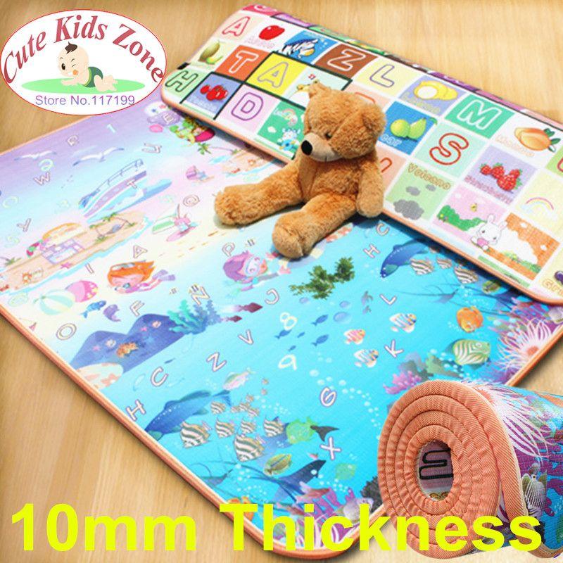 10mm de Espesor Beach Niño Mat Picnic Alfombra Alfombra Kids Play Mat Fruit Letras Y Sea World Bebé Gateando Mat CM-0215