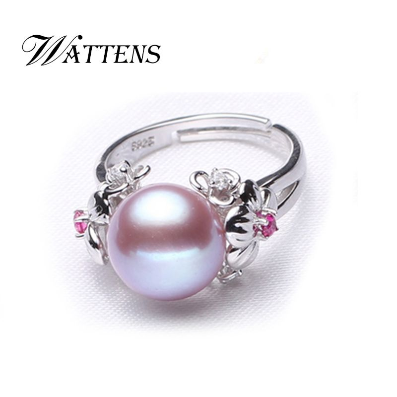 WATTENS pearl ring for women , natural white/pink/purple freshwater pearl jewelry adjustable ring,925 sterling silver ring