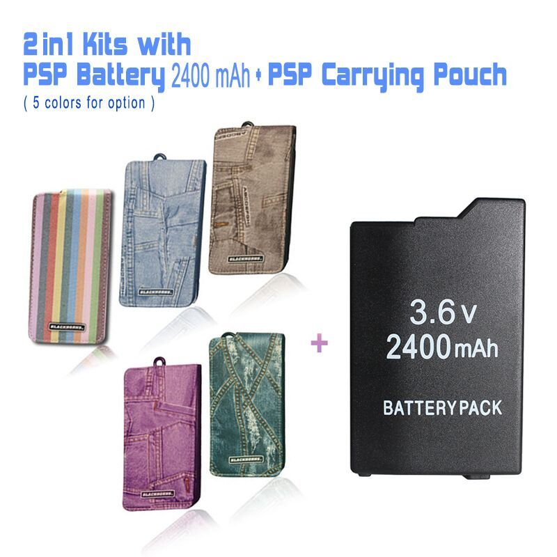 Game accessories with One PSP Battery ( 2400 mAh ) + One PSP Travel Carrying Pouch, Case Bag For All SONY PSP-2000,3000