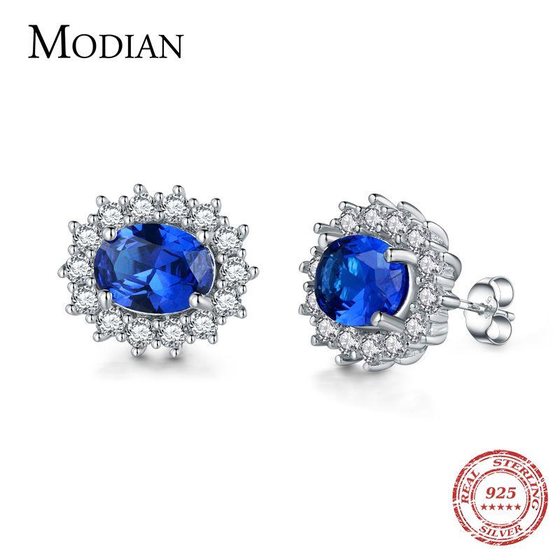 Modian 2017 classique 100% réel 925 en argent Sterling boucles d'oreilles mode luxe cristal Stud boucle d'oreille de haute qualité bijoux de mariage oreille