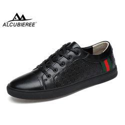 ALCUBIEREE Marque Mens Casual Planche À Roulettes En Cuir Chaussures Mode Sneakers Respirant Haute Qualité Formateurs Chaussures Hommes