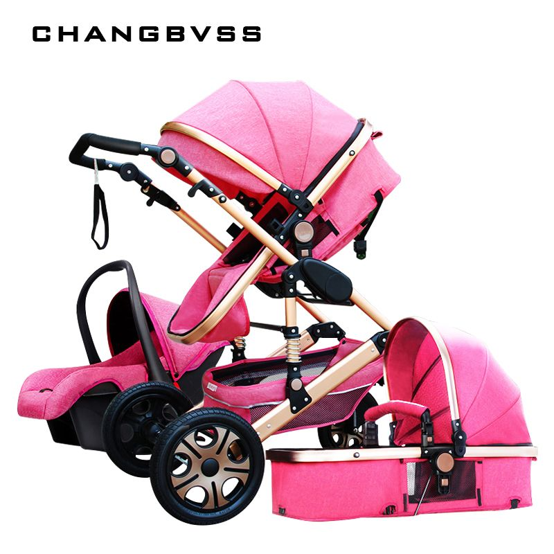 Luxury Fashion Baby Stroller 3 in 1 Foldable Infant Trolley,High Landscape Baby stroller Sit and Lie Baby Pushchair ,poussette