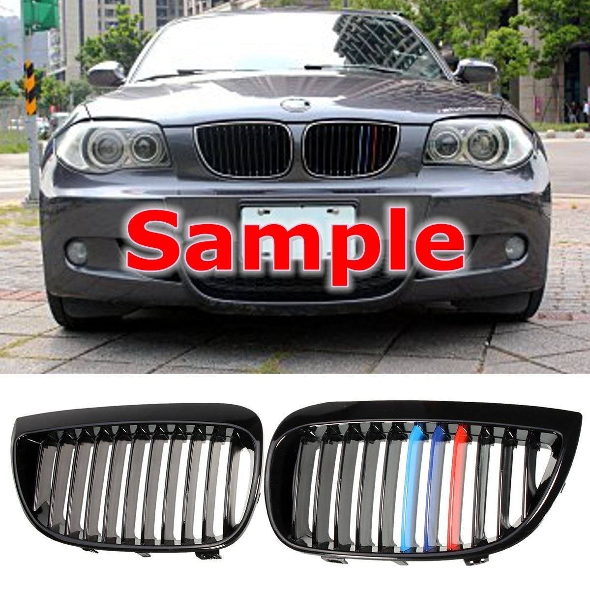 1 Pair Shiny Black M Style Sport Kidney Car Grill Grille For BMW E87 E81 1Series 2004-2007