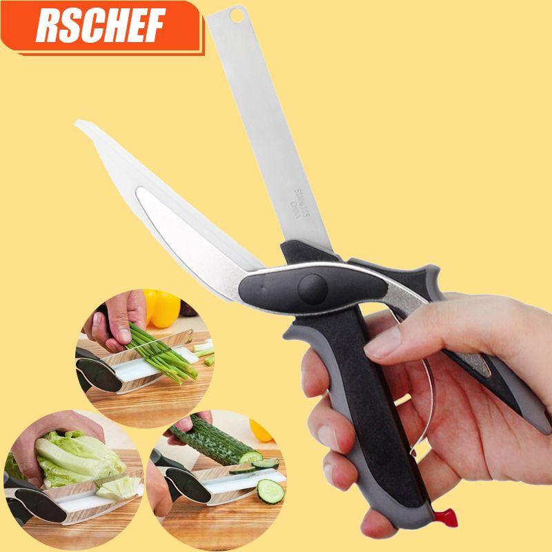 RSCHEF 1 stücke NEUE 2 in 1 utility cutter messer & bord edelstahl cutter Fleisch Kartoffel käse gemüse clevere cutter