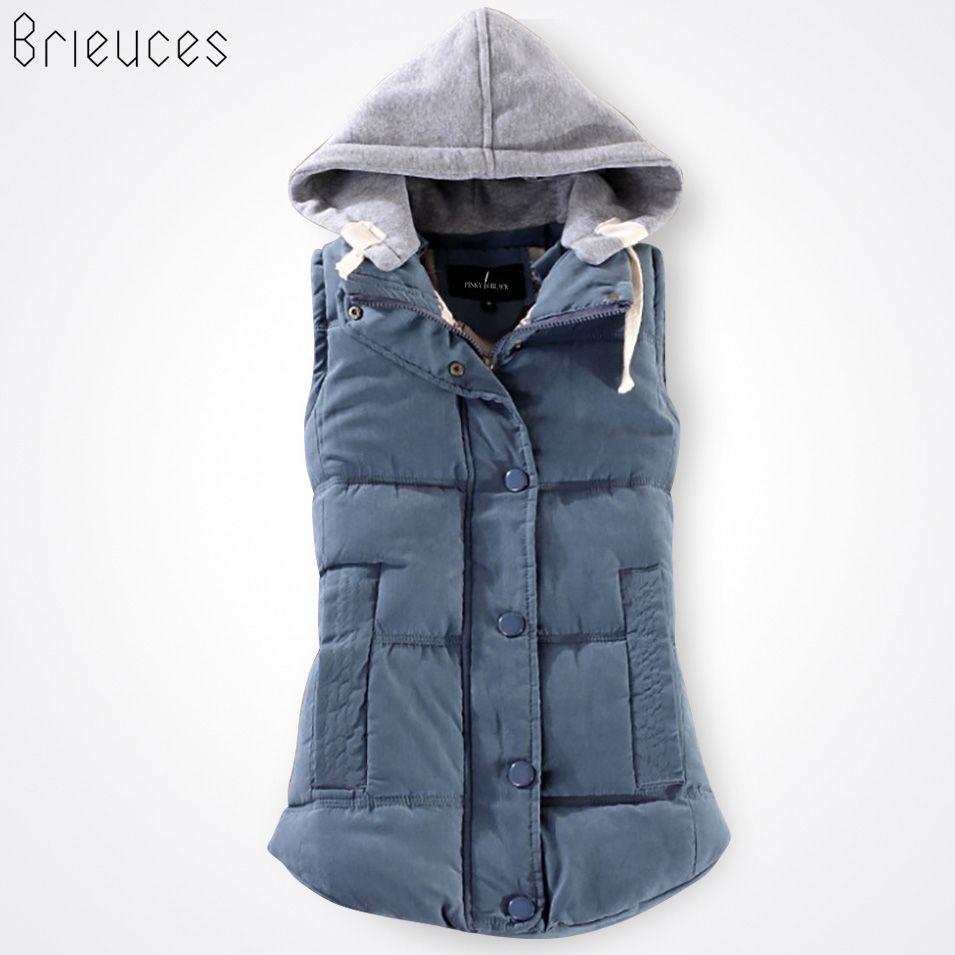 Brieuces autumn and winter vest women 2018 cotton vest with a hood patchwork cotton vest female <font><b>reversible</b></font> winter jacket women