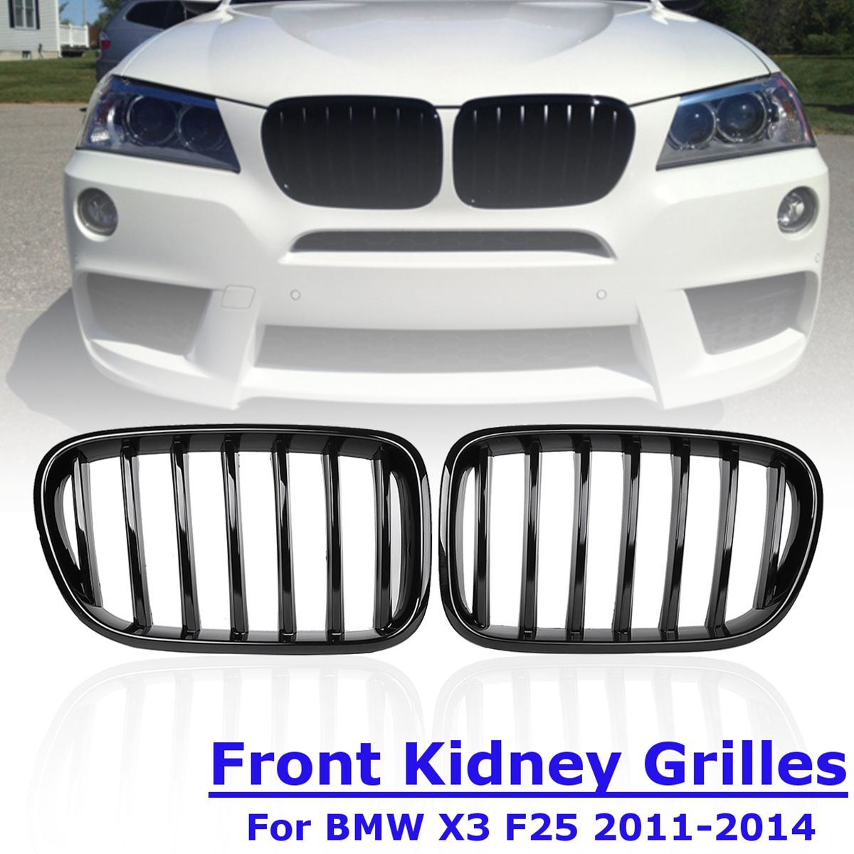 1Pair Front Kidney Grille Gloss Black Replacement Racing Grills for BMW X3 F25 2011 2012 2013 2014