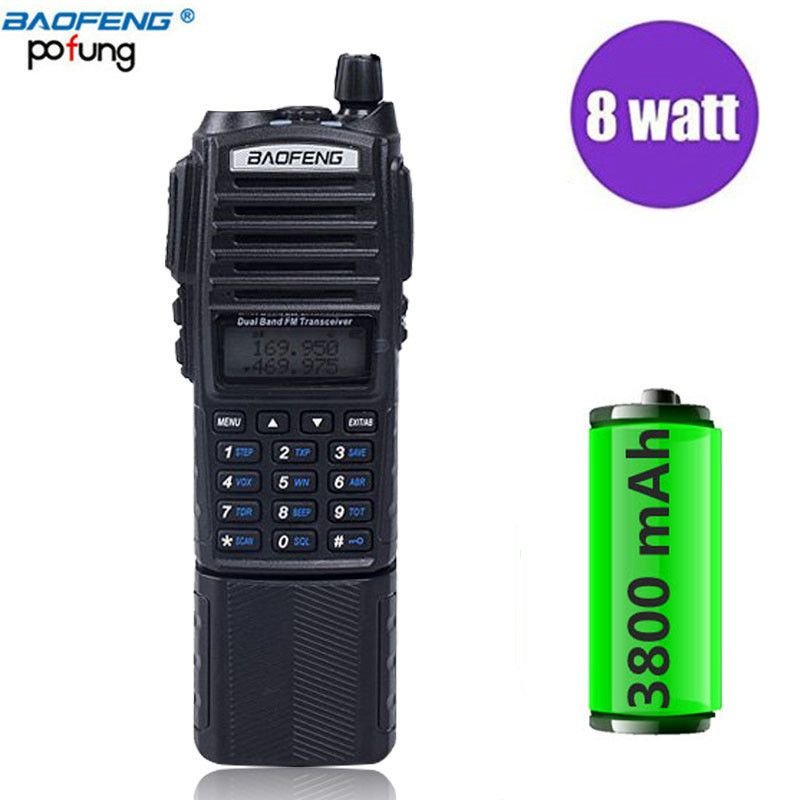Baofeng UV-82 Plus Walkie Talkie 8W Powerful 3800mAh Extended Battery UV82 Dual PTT Band Radio Transceiver Amateur Ham BF UV 82