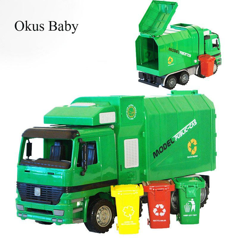 Hot Scale 1:22 Large Size Children Simulation Inertia Garbage Truck Sanitation Car Vehicle Toy Kid toys With 3 Garbage Cans