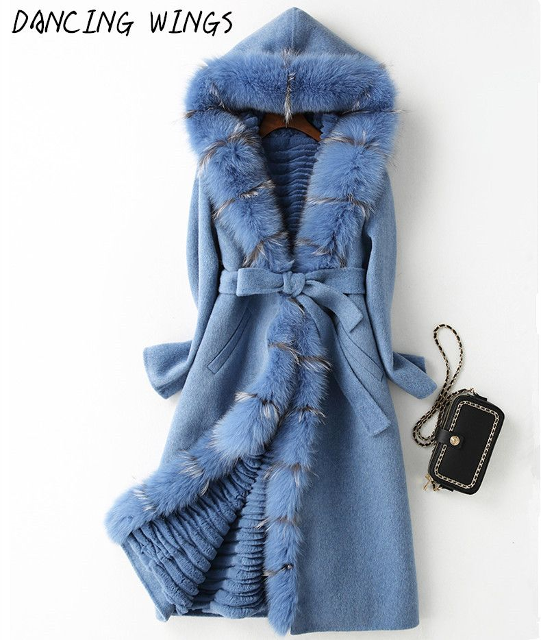 Real Fox Fur Coat Detached Lining Natural Rex Rabbit Fur Parka 100% Double Side Wool Cashmere Coat Casaco Feminino