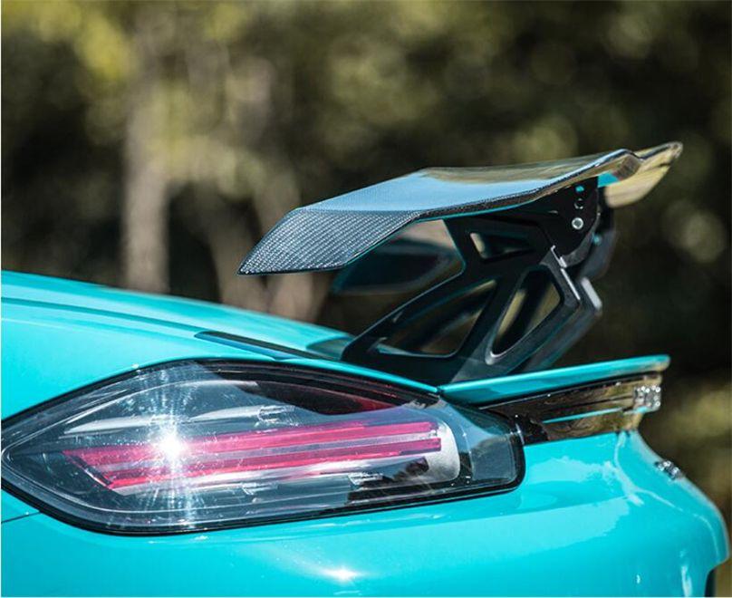 Hohe Qualität Carbon Fiber Spoiler Für Porsche 911 718 Boxster Cayman 2016-2020 Flügel Spoiler Auto Modifikation Zubehör
