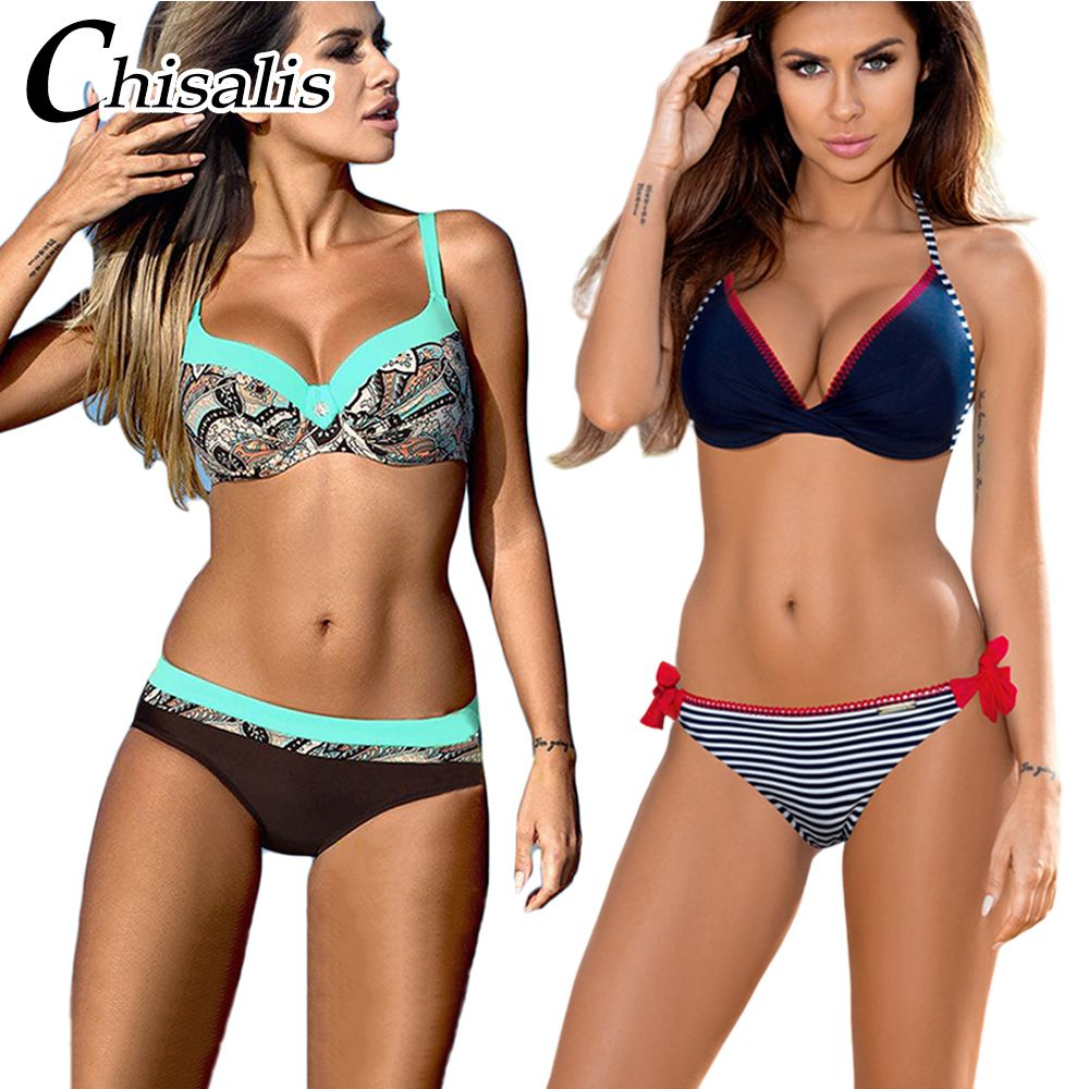 Chisalis Sexy maillot de bain femmes Bikini 2019 imprimer Push Up maillots de bain femmes brésilien Bikini ensemble plage maillot de bain biquini floral