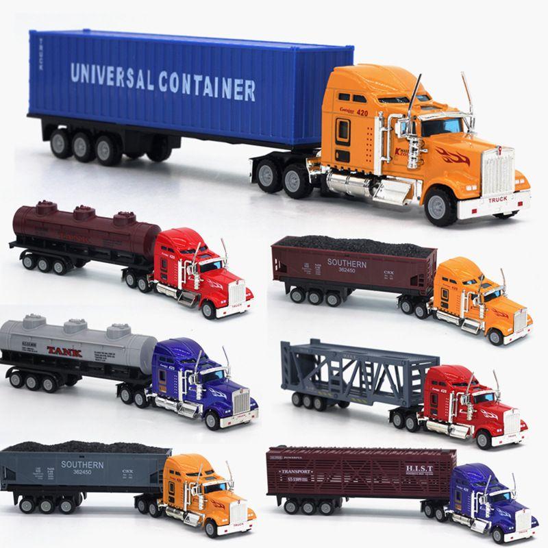 1:6 5 camions transporteurs Américains, modèles d'alliage, conteneur plat voiture modèle de simulation Modèle voiture jouets. Modèle de Transport