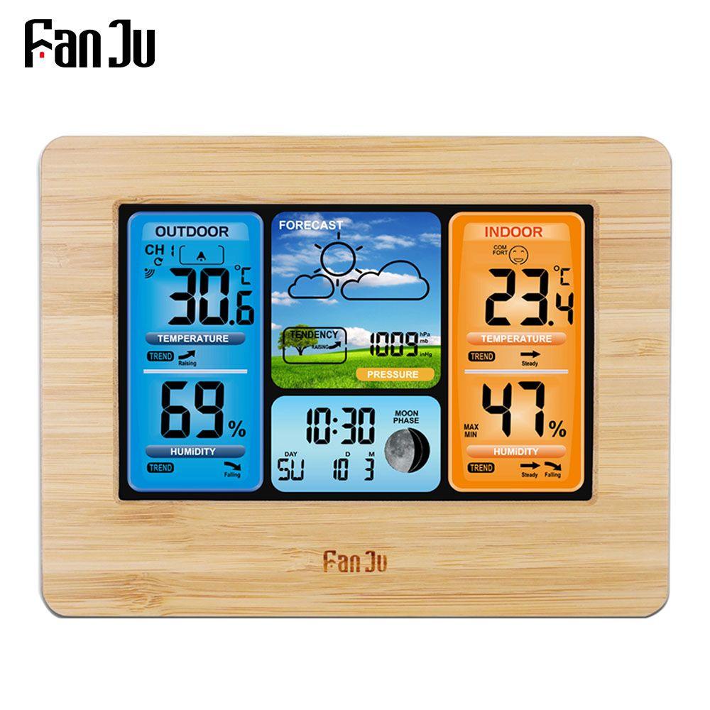 FanJu FJ3373 Station météo thermomètre numérique hygromètre capteur sans fil prévision température montre mur bureau réveil