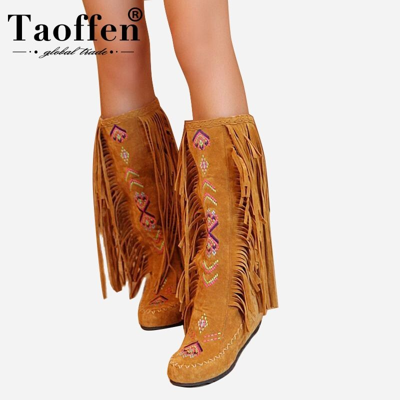 TAOFFEN Fashion Chinese Nation Style Flock Leather Women Fringe Flat Heels Long Boots Woman Tassel Knee High Boots Size 34-43