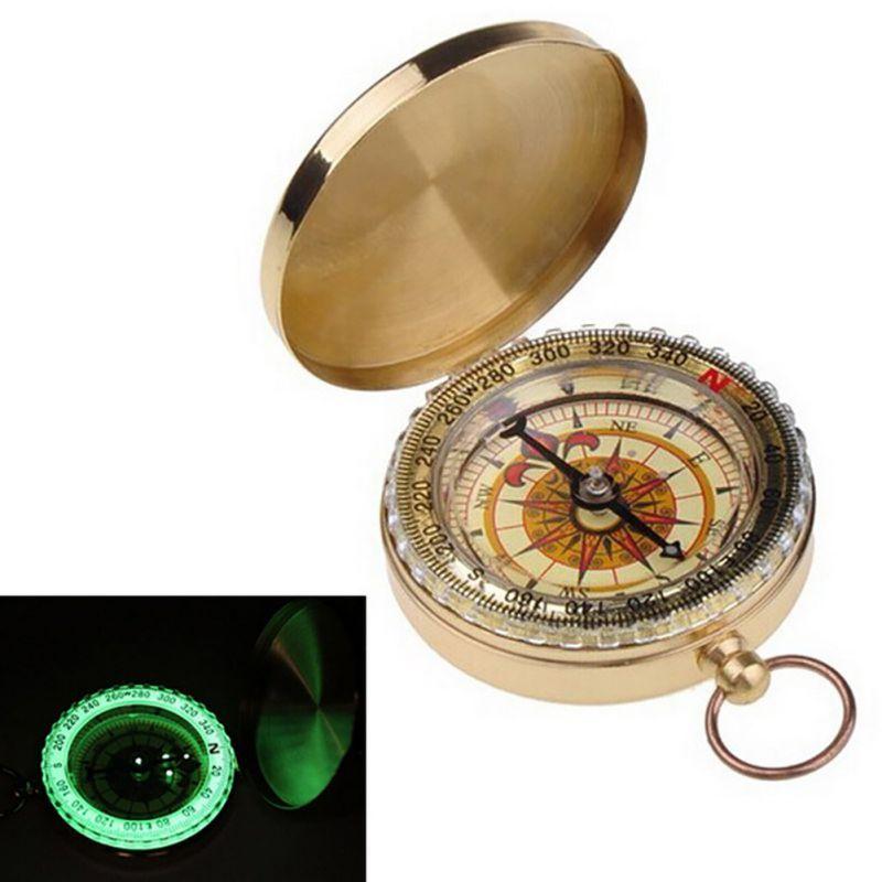 Camping Compass Wandern Tragbare Messingtaschen Goldene Aluminium Kompass Navigation für Outdoor-aktivitäten