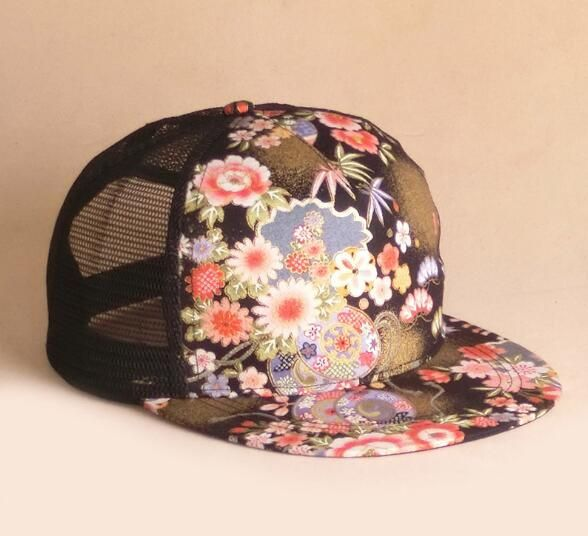 Summer outdoor casual floral print baseball cap for women
