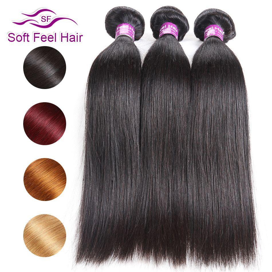 Doux toucher cheveux Remy cheveux 1/3/4 paquets offres brésilien cheveux raides armure paquets Extensions de cheveux humains bourgogne blonds faisceaux