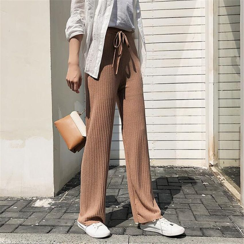 MLCRIYG Korean trailing women's knitted with wide legs straight waist slim waist trousers