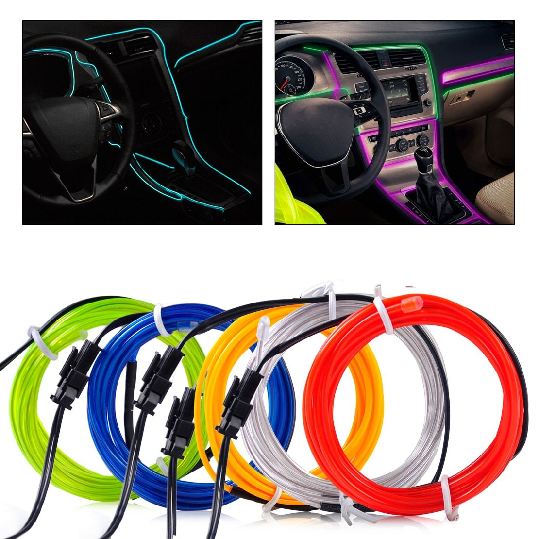 DWCX 3mm 2m EL-Wire Flexible Stylings Car Interior Decor Fluorescent Neon Light Strip Cold light Tape 12V DC Cigarette Lighter